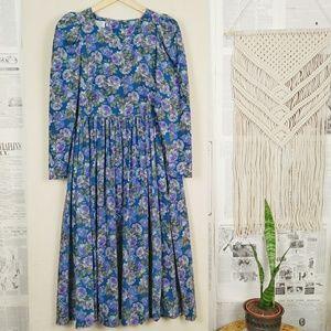 Vintage Laura Ashley Floral Corduroy Prairie Dress